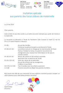 Invitation aux parents rencontre maternelle 19-20