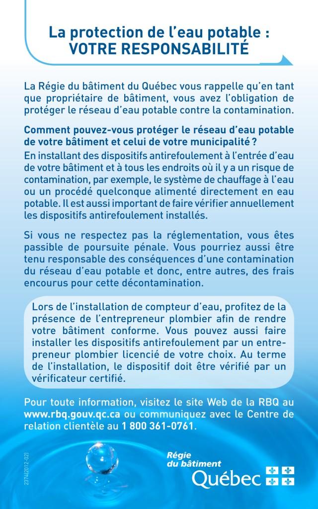 La protection de l'eau potable : VOTRE RESPONSABILITÉ