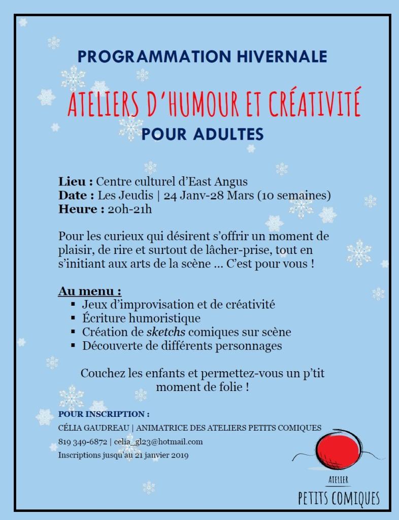 Atelier Petits comiques - Hiver 2019