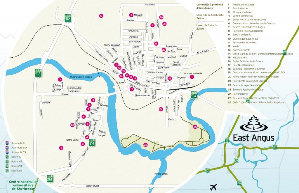 Carte routière East Angus - Pour CSSS HSF