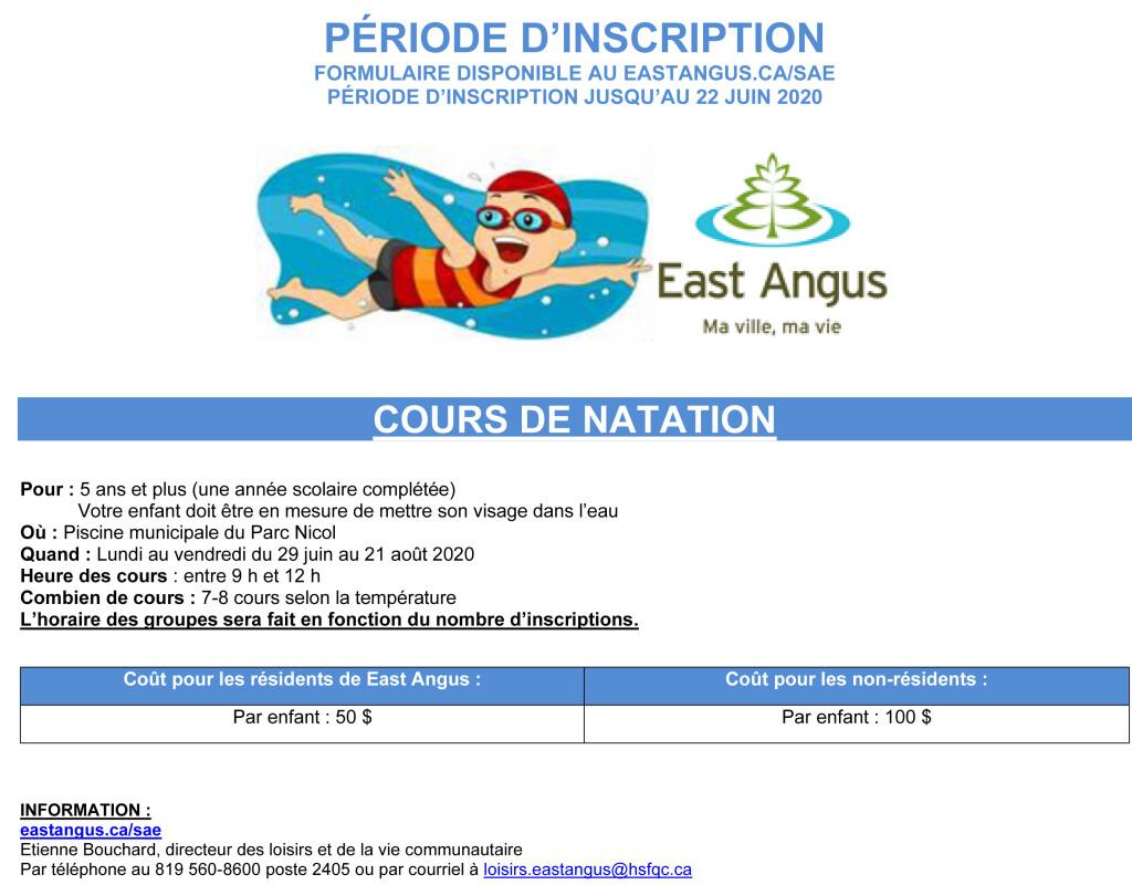 Publicité inscriptions 2020 - Cours de Natation