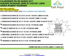 Horaire Patinage libre et hockey fin de saison 2017