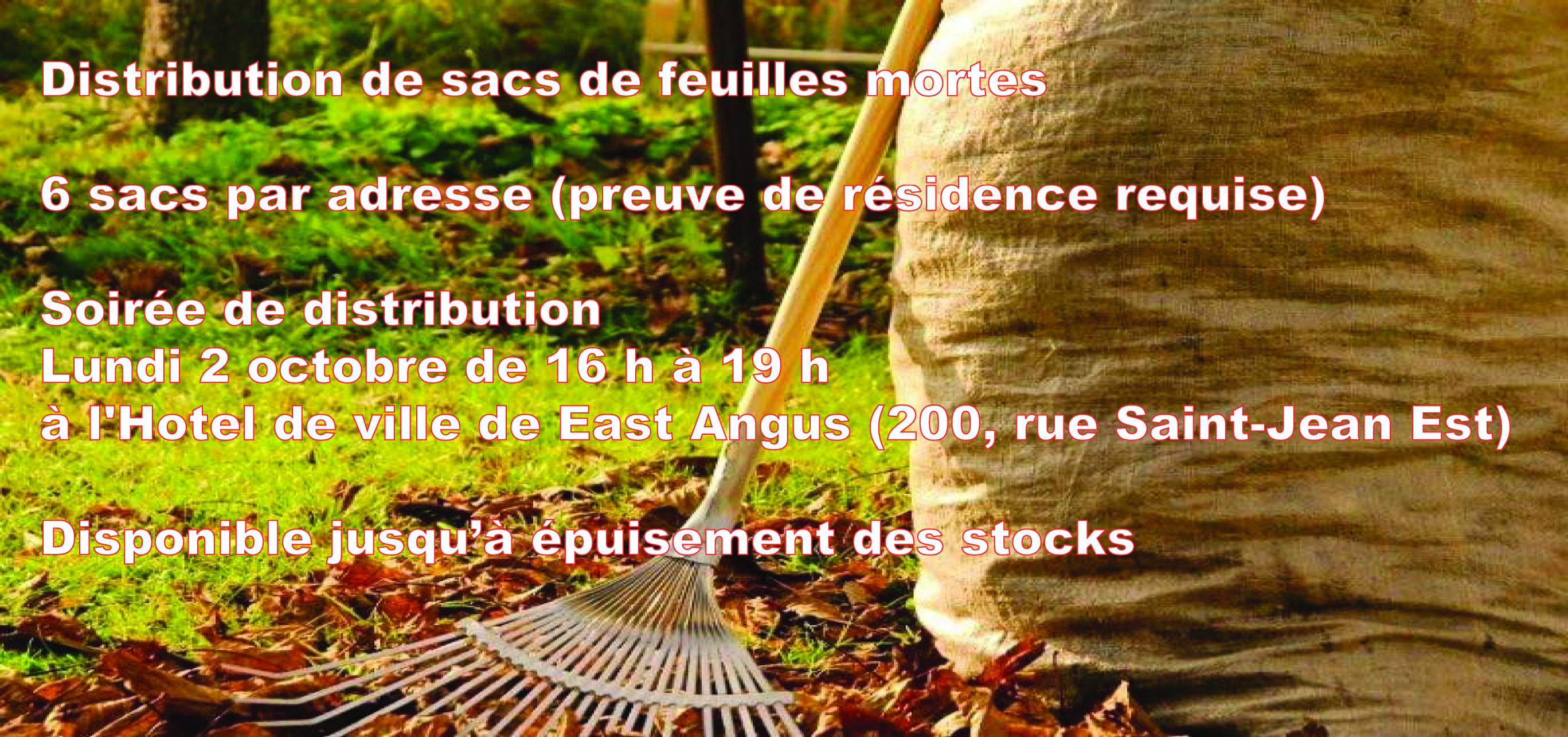 Distribution sacs de feuilles