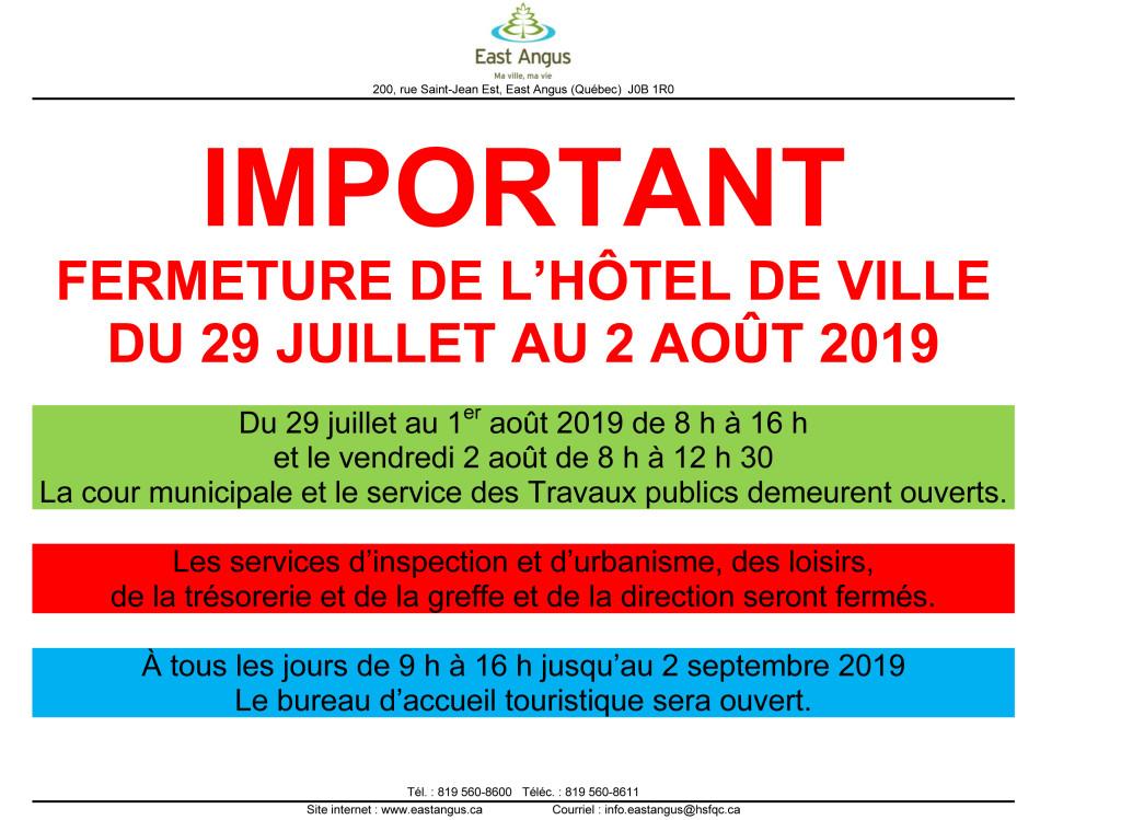 2019-07 - Fermeture de l'hôtel de ville - Été 2019