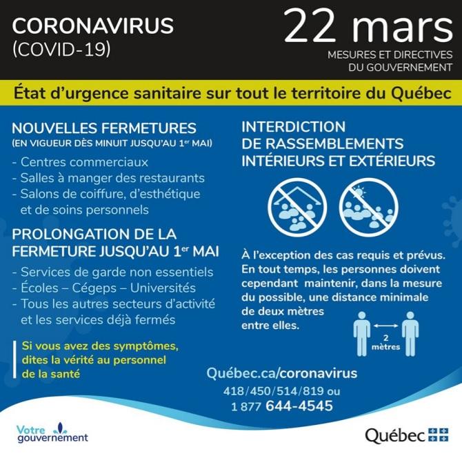 État d'urgence sanitaire sur tout le territoire du Québec