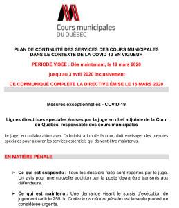 PLAN DE CONTINUITÉ DES SERVICES DES COURS MUNICIPALES - 19 mars 2020-1