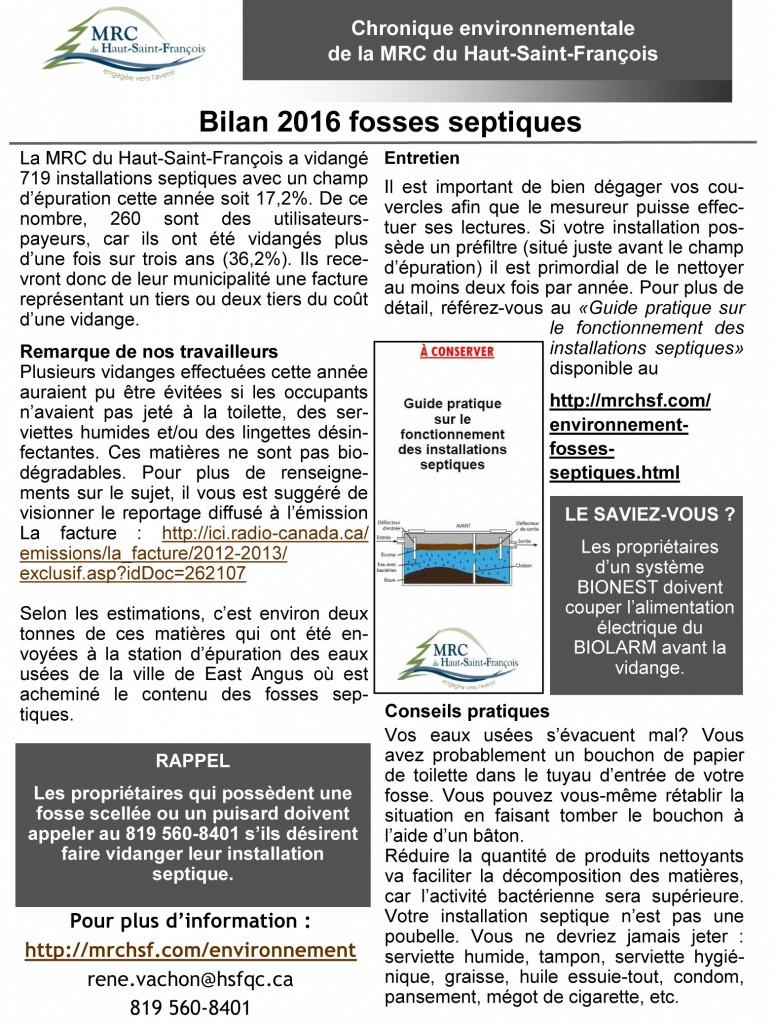 Chronique + bilan Fosse septique MRC