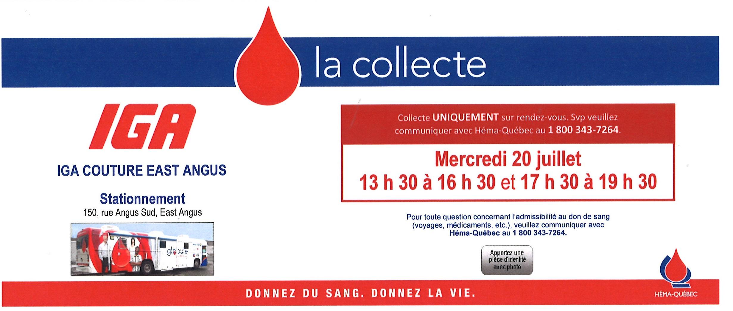 collecte sang 20 juillet