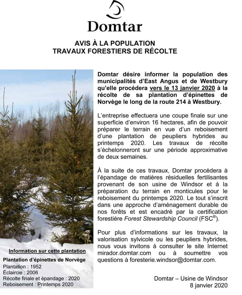 AVIS- Récolte Domtar sur route 214 janvier 2020 vf